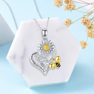 S925 sterling silver sunflower & bee design necklace
