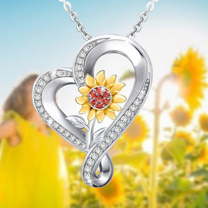 S925 sterling silver sunflower design personality necklace
