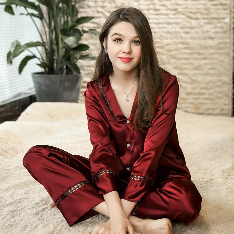 Two-piece silk summer long-sleeved pajamas