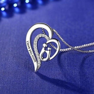 S925 sterling silver heart-shaped character 'MOM' design inlaid with diamonds