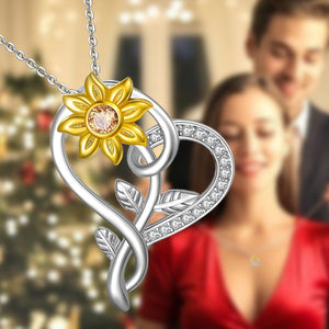 S925 Sunflower Heart Necklace Character Fashion Necklace