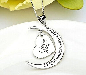 S925 sterling silver ornament with love moon pendant necklace