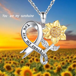 S925 sterling silver creative personality sunflower heart-shaped diamond pendant necklace