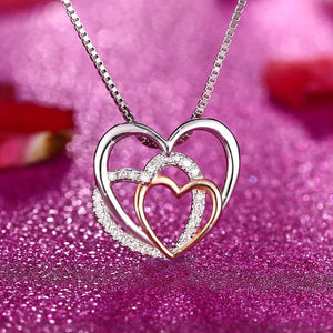S925 pure three love series pendant necklace