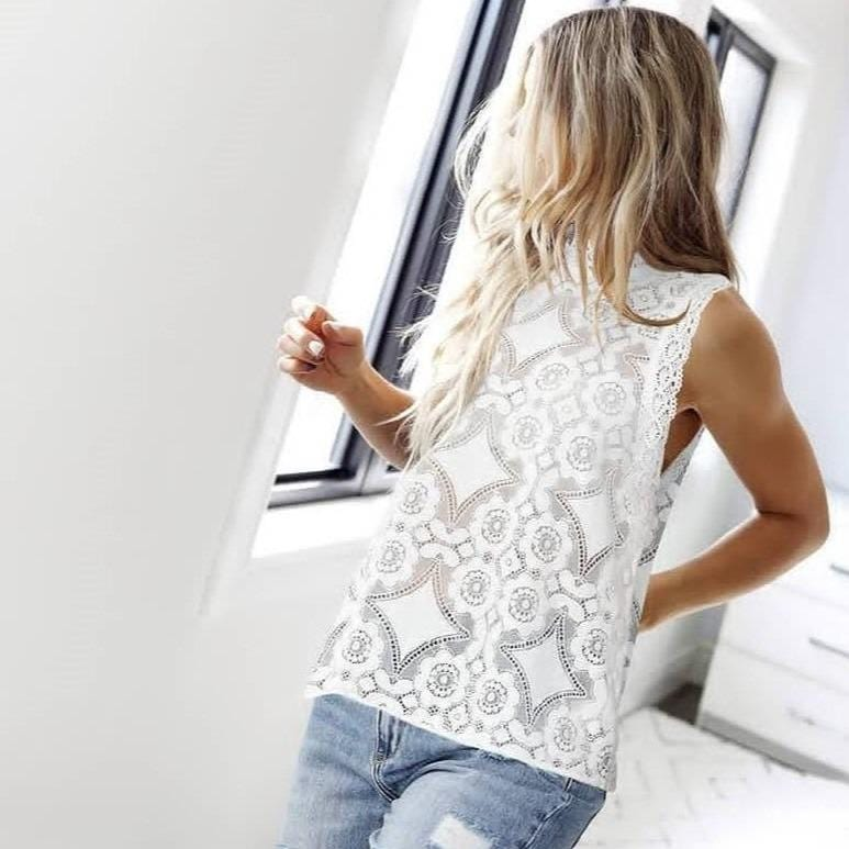 Lace Perspective Sleeveless Hollow Out Tight Vest Shirt