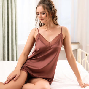 Silk V-neck comfortable home Camisole Sets