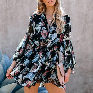 Sexy printed suit neck lace button female dress