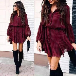 Check Print Lantern Sleeve Ruffled Hem Long Sleeve Dress