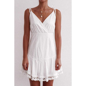 Halter fringed suspender dress women