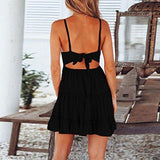 Sling lace stitching dress women