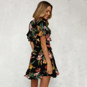 Short sleeve printed dress