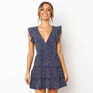 V-neck fashion print short sleeve dress