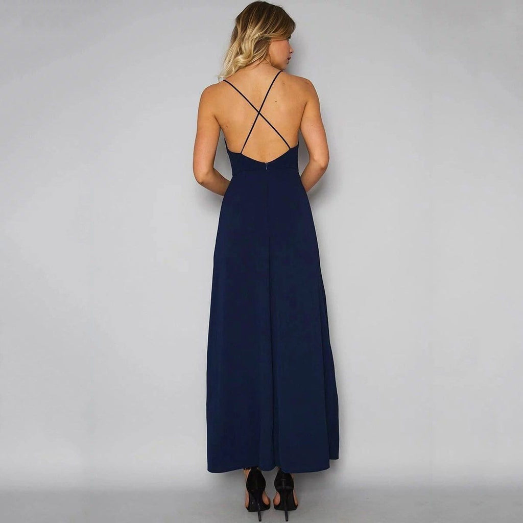 Embroidered stitching open back split dress