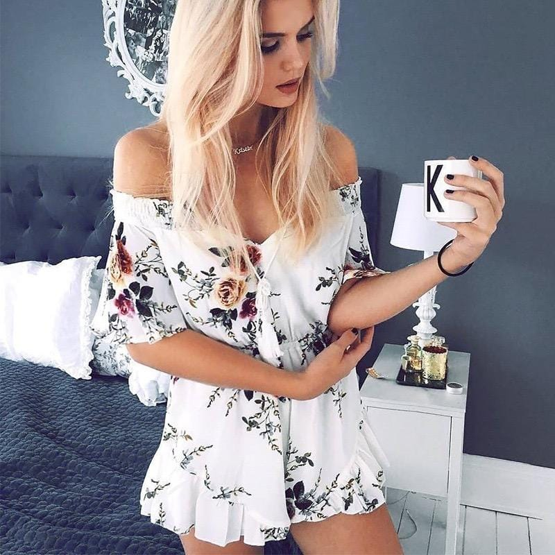One-shoulder open back jumpsuit shorts one-piece dress