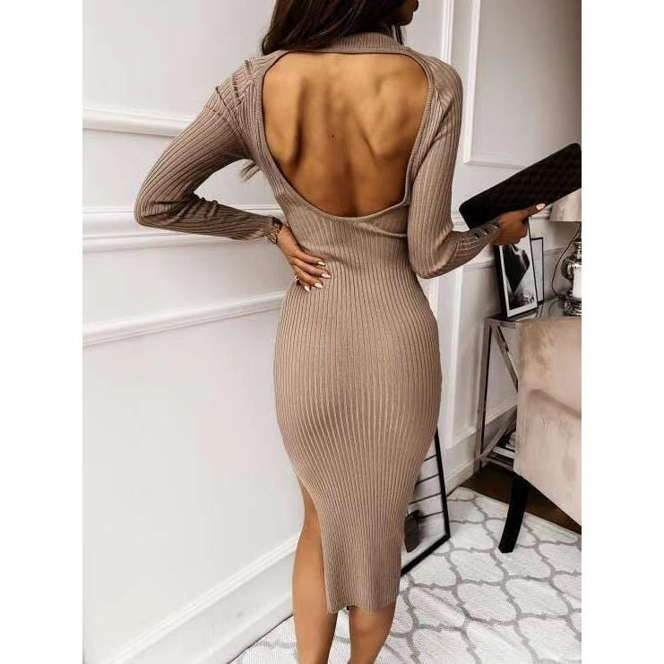 Autumn and winter new button split sexy dress