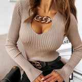 Sexy long-sleeved slim bottoming shirt with chain decoration