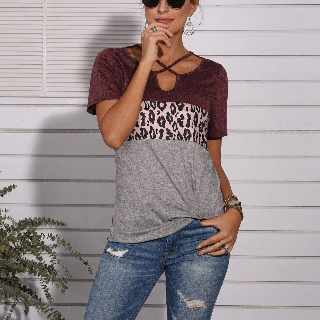 Leopard print stitching comfortable short sleeve T-shirt