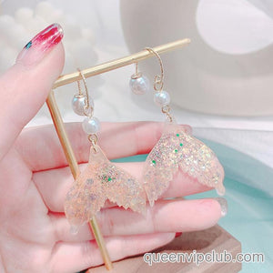 Mermaid Tail Earrings with Rhinestones