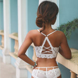 Hollow Out Lace Vest Wireless Bra