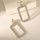 Rectangular rhinestone drop earrings