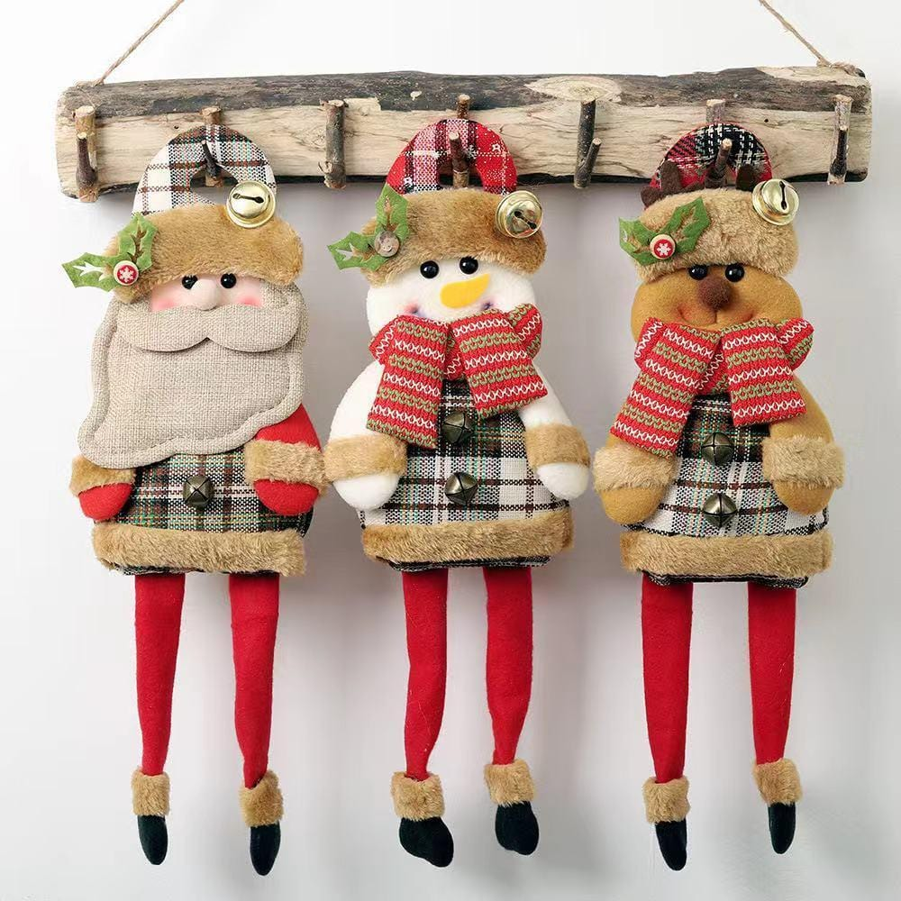 Christmas Decorations - Christmas Bell Plaid Cartoon Little Doll Pendant-2-piece set