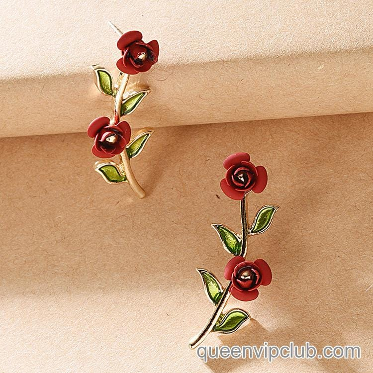 Rose design earrings