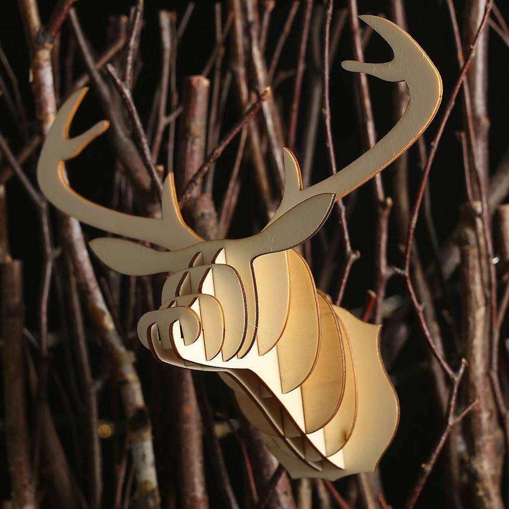 Christmas Decorations - Wooden DIY Deer Head Pendant
