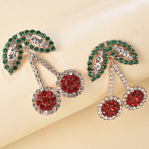 Rhinestone Cherry Design Earrings