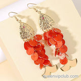 Fish-shaped cutout drop earrings