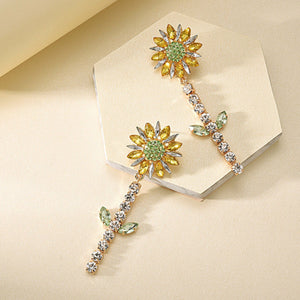 Rhinestone Sun Flower Design Earrings
