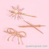 3pcs Bow & Flower Decor Hair Clip