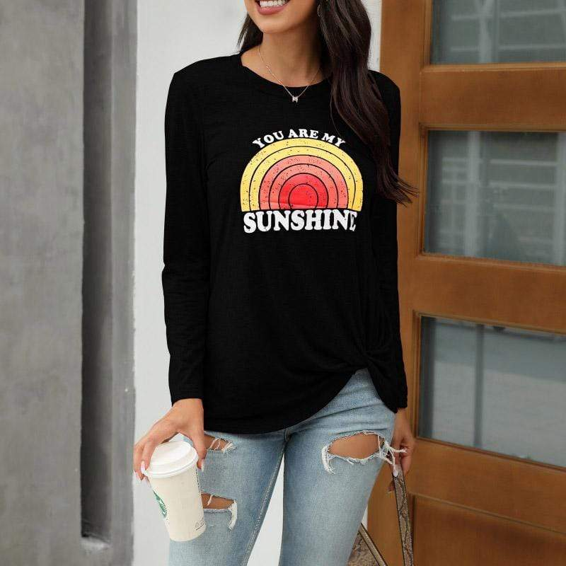 Printed long sleeve loose T-shirt women