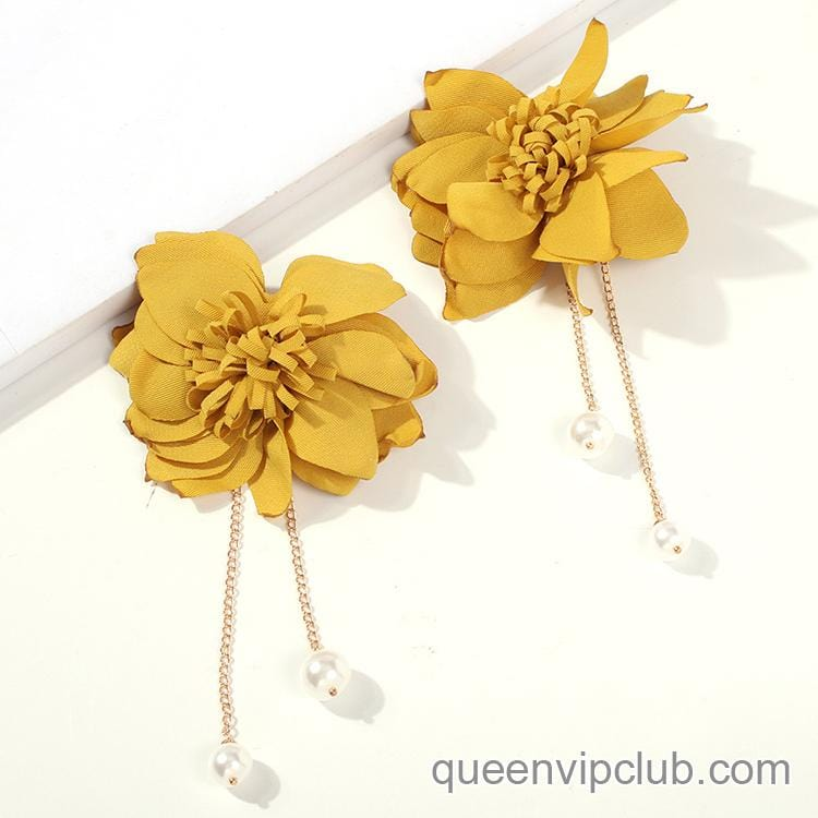 1pair Flower Decor Drop Earrings