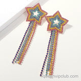 1 pair of colored rhinestone drop earrings