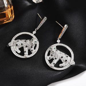 Cheetah shape hanging jewelry earrings