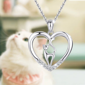 S925 sterling silver 'heart-shaped and kittens' diamond pendant necklace