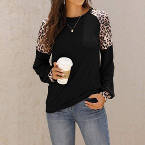 Round neck casual loose stitching T-shirt