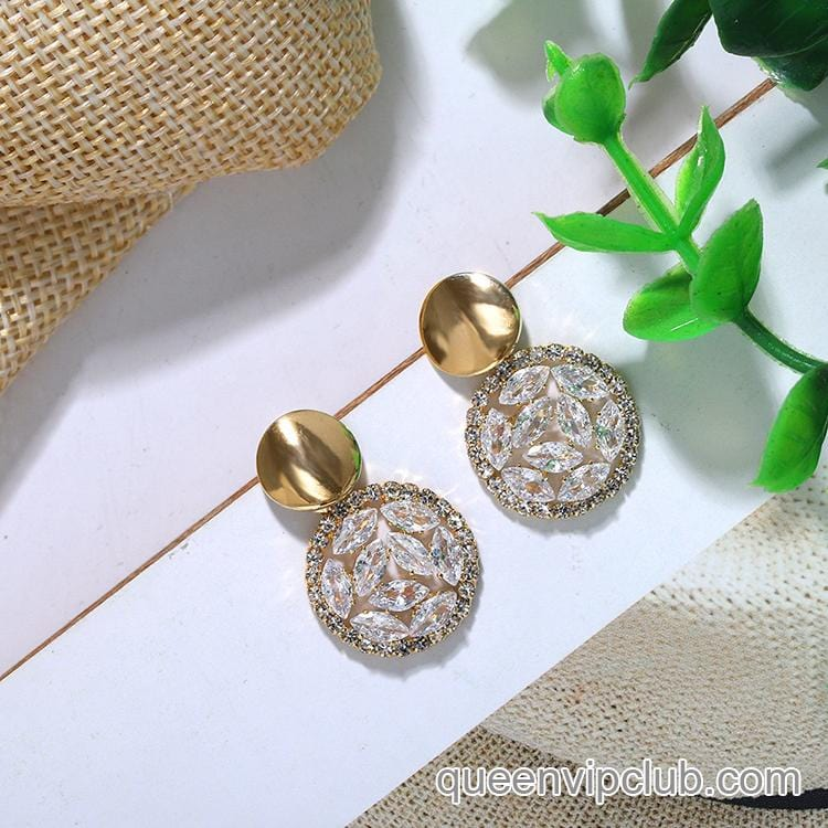 Rhinestone Iridescence Round Earrings 1pair