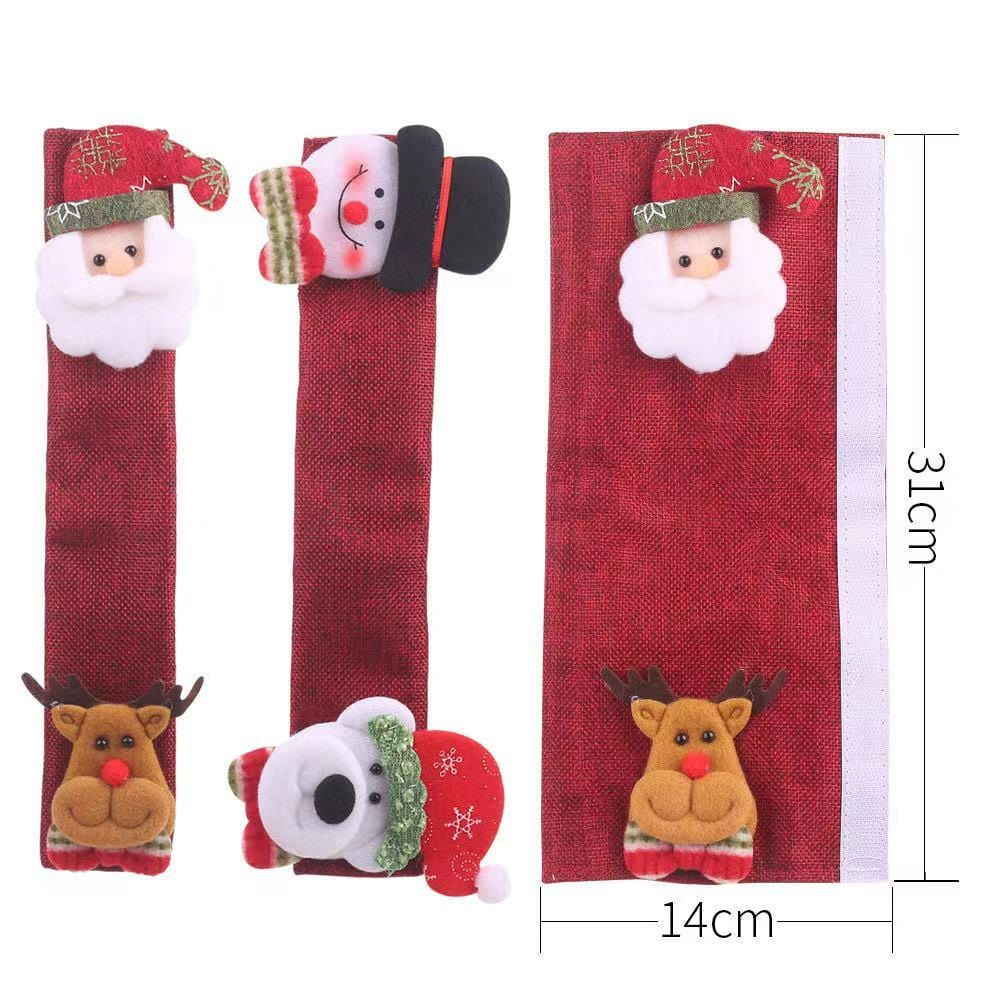 Christmas Decorations - Microwave Handle, Refrigerator Handle and Oven Cover -4-pack