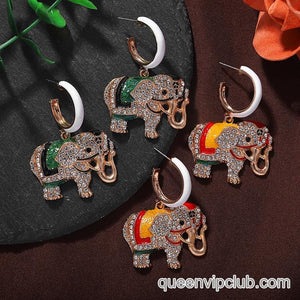 Micro-set rhinestone elephant design drop earrings
