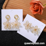 Rhinestone Flower Design Earrings
