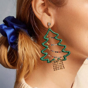 Rhinestone Christmas Tree Design Drop Earrings