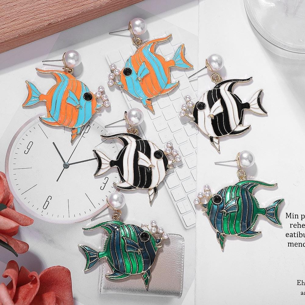 Sea fish design earrings 1 pair