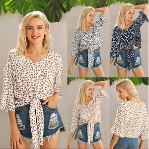 V-neck flared sleeve knotted printed women's shirt