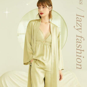 Silk material long sleeve nightgown sexy condole belt 3 sets