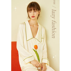 Silk pajamas simple casual cardigan two-piece suits