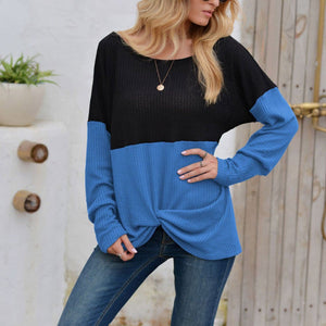 Check stitching twisted bottoming shirt T-shirt top