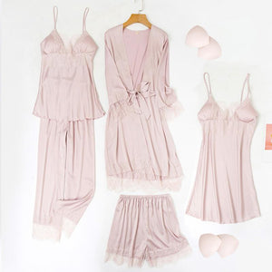 Home sexy silk lace five-piece pajamas