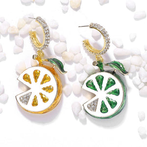 Lemon shape design earrings