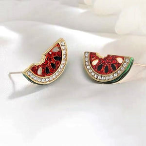 Rhinestone watermelon Shape Design Earrings
